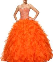 görüntü parıltısı toptan satış-2019 Işıltılı Sequins Kristal Quinceanera Modelleri Gerçek Görüntüler Gibi Sevgiliye Lace up Tatlı 15 Yıl Prenses Turuncu Balo Abiye Ucuz parti