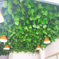 Wholesale Wholesale Fake Grapes - 12pcs 2.4m Garland Plants Grape Leaves Vine Fake Silk Leaf Foliage Home Decor Wedding Birthday party decorations supplies