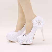 Wholesale Princess White High Heels - Bridal Shoes White Color Glitter Wedding Party Shoes Beautiful Lace Flower Wedding High Heels Birthday Party Prom Princess Pumps