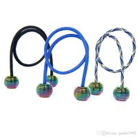 Wholesale Electroplated Beads - Novelty Finger Toy Alloy EDC Reduce Pressure Yoyo Thumb Chucks Electroplate Rainbow Color Begleri Fidget Beads Easy To Carry 12yd B