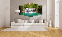 Wholesale cheap piece canvas prints landscape online - Cheap Canvas Art Print Waterfall Modular Pictures Piece Landscape Painting Home Decoration Wall Art