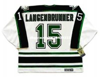Commercio all'ingrosso personalizzato Throwback Mens JAMIE LANGENBRUNNER Dallas Stars 1990's CCM Vintage Throwback Cheap Retro Hockey Jersey
