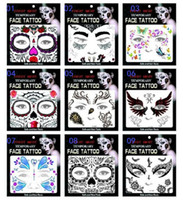 Wholesale Wholesale Body Stickers - Hot sale fright night temporary face tattoo Body art chain transfer tattoos temporary stickers in stock 9 styles