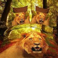 Wholesale Lion Comforter Sets King Size - Lions, leopards, tigers, Swan Animal Home Textile Bedding Set 3D queen king size 4pcs bedding set Bedclothes set duvet cover bed sheet set