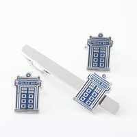 Wholesale Police Clip - High quality Fashion New Men's Stickpin Police Box Tie Clips +Cufflinks Set