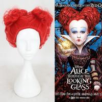 perücke alice großhandel-ZF Wholesales Alice im Wunderland Die rote Königin Cosplay schoss rote lockige Perücken für Damen