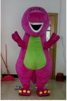 vestido de dinossauro adulto venda por atacado-Venda quente Barney Dinossauro Traje Da Mascote Filme Personagem Trajes de Dinossauro Barney Fancy Dress Adulto Tamanho Vestuário Frete Grátis