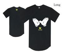 mode gelb t-shirts männer lang großhandel-Lange Art Wu-Zapfenschwarz-T-Shirt gelbe Schlägerlogo-Hip-Hop-T-Shirts Sommerkleidung-Mann-T-Stück Baumwollmode