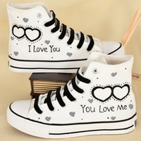 Wholesale Hand Painted Flat Shoes - Woman canvas shoes flats white heart Hand Painting i love you canvas shoes high top Lacing Flats Factory outlets Family Shoes 96