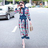 Wholesale Bohemian Cotton Women Long Dress - Autumn Vintage Elegant Floral Printed Long Sleeve Turn-down Collar Maxi Dress 2017 Women High Quality Runway Dress Designers