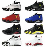 kutu atışı toptan satış-14 XIV Okside Yeşil Indiglo Thunder Playoff Siyah Ayak Kırmızı Süet 14 s Erkekler Basketbol Ayakkabıları Sneaker Kutusu Ile Son Shot Spor Ayakkabı