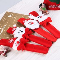 Wholesale Bracelets Santa Claus - Clap Ring Pop Christmas Party Decor Snowman Santa Claus Deer Bear Pattern Children Hand Pat Gift Tree Buckle Bracelet 0 8hq F R