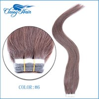 Wholesale Ash Brown Extensions - Medium Ash Brown Straight Adhesive Skin Wefts Tape In Human Hair Extensions PU Tape Hair 20pcs set 16 18 20 22 24 inches Large Stock