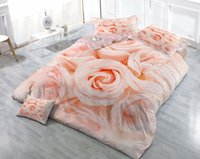 Wholesale romantic pink bedding set for sale - Custom Drawings Can be Customized D Romantic Rose Cotton Satin Piece Duvet Cover Sets Bedding Sets