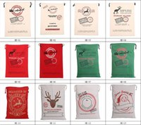 Wholesale Large Santa Sacks Wholesale - Free Shipping 2018 Christmas Large Canvas Monogrammable Santa Claus Drawstring Bag With Reindeers, Monogramable Christmas Gift santa sacks