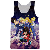 Wholesale Super Hipster Men - Wholesale-Newest Anime Dragon Ball Z Super Saiyan Tank Tops Goku Vegeta Majin Buu Brolly Prints t shirt Men Women Hipster 3D Tank Top Vest
