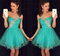 Wholesale Emerald Skirt - Emerald One Shoulder Short Homecoming Dresses 2016 Cheap A Line Crystal Sequins Knee Length Ruffles Tulle Skirt Girl Formal Prom Party Gown