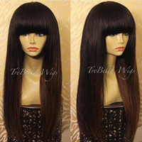 Wholesale Long Chinese Bang Wigs - New Arrival Peruvian Human Hair Full Fringe Wig Human Hair Glueless Full Lace Wig With Bangs Bleached Knots For Black Women