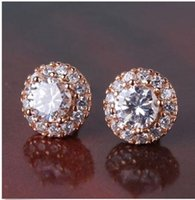 Wholesale Rose Gold Filled Earrings Stud - White sapphire twinkling 18K rose gold filled FASHION stud earring 14k gold fashion jewelry store screw back
