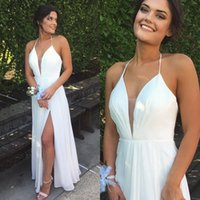 Wholesale Maxi Gown Halter Neck - 2017 Cheap Maxi Dresses Long Evening Dress Halter Sleeveless Ruched Chiffon Open Back Ivory Prom Gowns with Split Custom Made