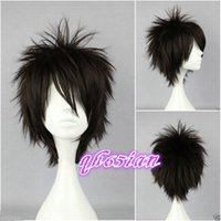 Wholesale Pictures Punks - 100%Free shipping New High Quality Fashion Picture Indian Mongolian wigs>>New Men Boy Black Short Layered Fringe Punk Rock Hair Wigs