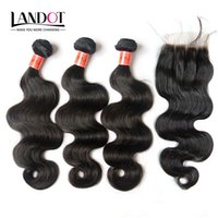 Wholesale Top Piece Hair Blonde - 4 Bundles Lot Virgin Brazilian Body Wave Hair Weave With Top Lace Closure Unprocessed Malaysian Peruvian Indian Remy Human Hair Closures