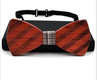 Wholesale Mens Designer Bow Ties - Unique Handcrafted Mens Wooden Bow Ties Neck Custom Designer Europe America Style 8 Styles Handmade for Wed Gift Wenge Rosewood Wholesale