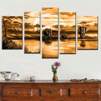 óleo, pintura, elefante venda por atacado-Multi piece combination 4 pçs / set 100% pintados à mão Pintura A Óleo Moderna Na Lona elefante africano animal abstrato na parede