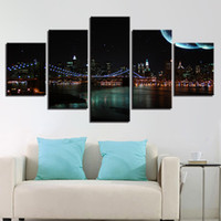 5 Pcs / Set Brooklyn Bridge City Night View Canvas Paintings Home Decor Wall Art Molduras Posters HD Prints Pictures Painting