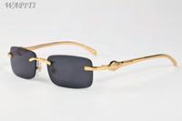 bardak çerçeve dişi toptan satış-Kadınlar Için marka Tasarımcısı Çerçevesiz Güneş Gözlüğü 2017 Bağbozumu Güneş Gözlük Kadın Erkek Şeffaf Lens Güneş gözlükleri Düz Üst Metal Çerçeve Gözlük