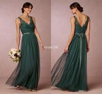 Wholesale Emerald Wedding Dresses - Elegant Emerald Green Long Bridesmaid Dresses 2016 Sheer V Neck Open Back Sash Floor Length Maid of Honor Dress Wedding Guest Formal Gowns