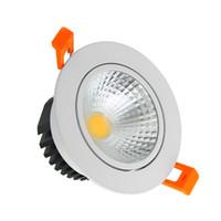 lâmpadas de vidro fosco venda por atacado-Regulável LED COB Downlights 21 W 18 W 15 W 12 W 9 W iluminação LED AC 110 V 220 V Lente de Vidro Fosco Recesso Lâmpada Do Teto Iluminação Interior