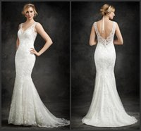 Wholesale Ella Mermaid Bridal Dress - 2016 Slip Style Wedding Gowns V Neckline Sweep Train KR t Embroidered Venice Lace Mermaid Ella Rosa Bridal Dresses Covered Button