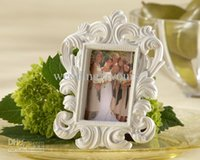 "Wholesale Elegant Wedding Photo Frame White - Free shipment ""White Baroque"" Elegant Place Card Holder,Photo Frame,bridal favors, 30pcs lot"