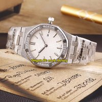 Wholesale Swiss Quartz Ladies - Luxury Brand High Quality Royal Frosted 316L Steel Swiss Quartz 33mm Women's Watch 67653BC Diamond Bezel White Dial SS Strap Ladies Watches