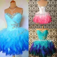 Wholesale Ombre Homecoming - 2016 Ombre Homecoming Dresses with Lace Up Back and Tiered Skirts Real Pictures Beaded Pleated Ruffled Tulle Tutu Sweet 16 Gowns Custom Made