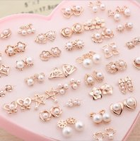 Wholesale Mother Pearl Jewelry Boxes - Korea 18K gold color retention pearl earrings 36 pairs of earrings hypoallergenic boxed a dozen wild earrings small jewelry Alloy Heart-s
