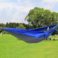 Wholesale Garden Furniture Swings - Portable Nylon Parachute Double Hammock Garden Outdoor Camping Travel Furniture Survival Hammock Swing Sleeping Bed Tools 2016
