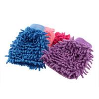 mikro fiber elyaf toptan satış-Süper Mitt Mikrofiber Mikro Fiber Araba Yıkama Eldiven Yıkama Temizleme Anti Scratch araba yıkama Ev bakımı fırça