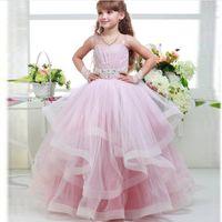 Wholesale Little White Corset Wedding Dress - Little Princess Pink Ruffles Tulle Ball Gown Spaghetti Straps Flower Girl Dress Corset Back Vestido de nina de las flores