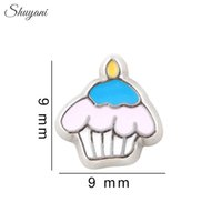 Wholesale Enamel Ice Cream Charms - Enamel Metal Charms Silver Plated Ice Cream Floating Locket Charms for Bracelet DIY Living Memory Glass Locket Necklaces