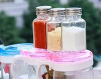 Wholesale Sugar Glass Jars - Glass Sugar Salt Pepper Shaker Stainless Steel Cap Cruet Condiment Jar Herb Spice Storage