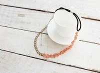 Wholesale Wholesale Celtic Metal Headbands - Fashion Metal Chain Jewelry Cluster Pink Beads Elastic Hair Band Headband Jewelry Drop Shipping Headwear Lots 10 pcs