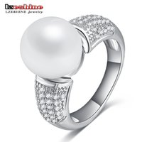 Wholesale Pearl Cluster Ball - Wholesale- LZESHINE Top Quality Imitation Pearl & Zirconia Rings Silver Color Ball Shape Lovely Rings for Women Anniversary CRI0164-B