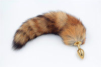 Wholesale Red Anal Plug - Red Fox Tail Butt Anal plug 35cm long Real Fox tails Golden Metal Anal Sex Toy 2.8*7.5cm