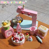 Wholesale Strawberry Furniture - Baby Toys Mother Garden Strawberry Simulation Egg Cake Making Machine Child Kitchen Food Wooden Toys Furniture Toy Birthday Gift