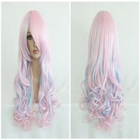 Wholesale lolita wigs - High Quality Blue Pink 70cm Long Wavy Halloween Synthetic Color Mixed Lolita Wig ePACKET Free Shipping