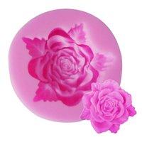 geléia de borracha fda venda por atacado-Nova Venda Quente Em Forma de Folha De Rosa Em Forma de Bolo de Silicone Bolo Decoração Fondant Bolo 3D Food Grade Silicone Mold