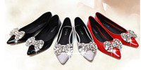 Wholesale Authentic Wedding Shoe - Spring new bowknot rhinestone counters authentic shallow mouth han edition wedding shoe female student recreational shoe flat point