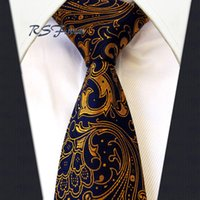 Wholesale Mens Long Silk Ties - Free Shipping Long tie Paisley Glod Blue Navy Necktie 100% Silk New Jacquard Woven Classic Mens Tie Brand